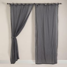 Just purchased these Tornado Gray Crinkle Voile curtains on-line. I don't know if I love the ties but the fabric and color are wonderful.