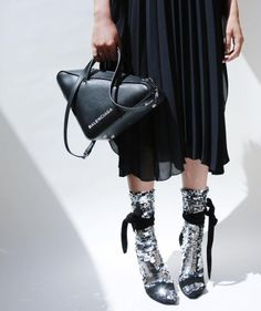 BALENCIAGA triangle bag / shiny socks