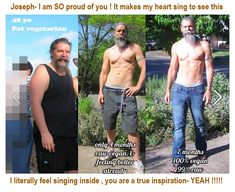"""Joseph Hill -- before and after photos. Raw Vegan. What a huge difference! His """"thank you"""" is directed at Markus Rothkranz."""