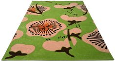 """A custom hand tufted pure wool rug in terracotta, green, pink, brown and grey. It has a pile depth of 12-14mm. Created using the """"FIELDS"""" design. #CustomRugRoom"""