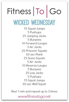Wednesday Workout - Fitness To Go Fitness Tips, Fitness Motivation, Health Fitness, Workout Fitness, Hitt Workout, Tabata, Fun Workouts, At Home Workouts, Body Workouts