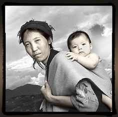 """Kunsang walked 25 days, crossing the Himalays with her baby boy on her back. She said """"I want him to grow up in a Tibetan culture and get a proper education. At this time this is not possible for us Tibetans in our own country"""". This photo was taken two weeks after they arrived in Nepal en route to India."""