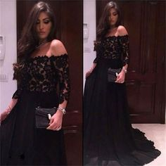 Black Chiffon Top Lace Off Should Straight Neck Long Sleeves Party Occasion Prom Dress ,PD0234