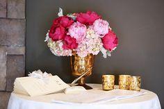 Pink Peonies & Hydrangeas In A Copper Mercury Pedestal Vase