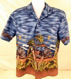 KY's Men's Size Large Short Sleeve Biker Surfer Awesome Color Hawaiian Shirt USA