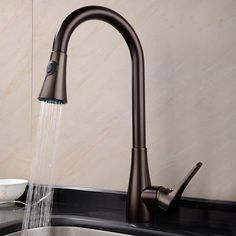 Traditional Oil-rubbed Bronze Finish Deck Mounted Rotatable Pullout Spray Kitchen Faucet At FaucetsDeal.com