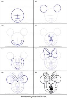 How to Draw Minnie Mouse Face from Mickey Mouse Clubhouse step by step printable drawing sheet to print. Learn How to Draw Minnie Mouse Face from Mickey Mouse Clubhouse Minnie Mouse Drawing, Mickey Mouse Drawings, Mickey Drawing, Mickey Mouse Sketch, 3d Drawings, Cartoon Drawings, Animal Drawings, Drawing Animals, Drawing Faces