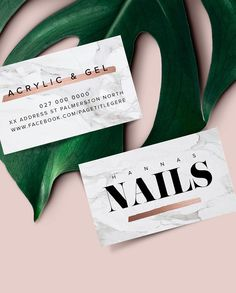 New Logo and Business Card Design for Hannah's Nails by Big Cat Creative | www.bigcatcreative.co | Business Card Design | Graphic Design | Business Card Inspiration | Business Card for Nail Technician | Girly Logo | Classy Logo | Modern Logo | Marble Logo