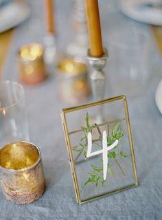 Intimate blue & metallic wedding table numbers