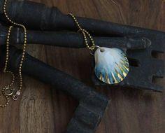 Shell of Saint James-Scallop shells,  porcelain jewelry beach necklace mermaid necklace porcelain