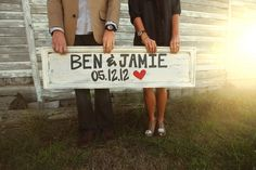 I could make a sign like this with our last name and Est. August 6, 2013.