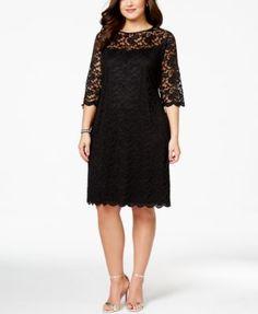 Connected Plus Size Illusion Lace Dress | macys.com