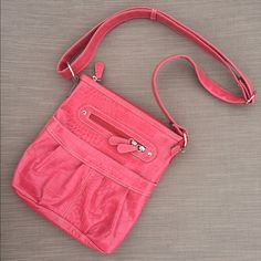 SALE‼️ Pink Crossbody Bag In excellent pre worn condition. Hardly any wear and super cute for the upcoming summer months. Probably only carried a max of 3 times, prefect for carrying multiple items. All sales final. Emilie M Bags Crossbody Bags