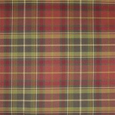 A3239 Scarlet plaid in red green tartan color : fabric by the yard for custom window treatments: shades, draperies, top treatment   BestWindowTreatments.com