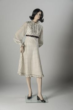 1968: Jean Muir: Black and white spotted cotton voile below-the-knee dress. Selector: Ailsa Garland, Fashion