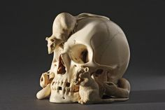 A nineteenth- to twentieth-century Japanese ivory okimono carved as a human skull with snakes and rats, a symbolic memento mori. (Finch & Co)