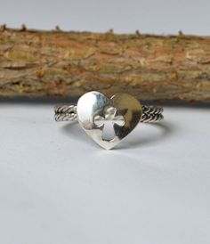 Sterling Silver Heart With Cut Out Cross Ring by Degenhartdesigns, $30.00