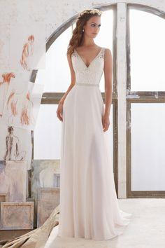 600c1a124 2019 vestidos de boda del cuello V gasa Una línea con los granos y bordado  US  219.00 VEPNQ7KHYX
