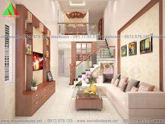 Mẫu thiết kế nhà đẹp có gác lửng 5x16,5 mặt tiền mái thái M49- 550 triệu Living Room Under Stairs, Future House, My House, 2 Storey House Design, Home Fashion, Lunges, House Plans, Villa, Home And Garden