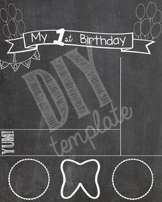 First Birthday Chalkboard Template | Presley Jayde | Pinterest ...