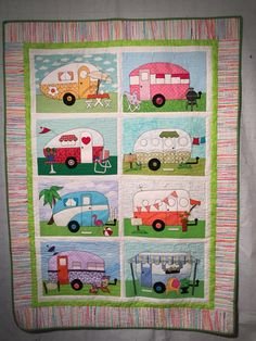 Camper Quilt I made in remembrance of my grandparents and all the weekends spent camping with them in their Airstream camper. I loved making this quilt. It is all appliqué