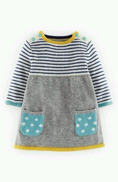 Mini Boden Sweet Knit Sweater Dress (Baby Girls) by PikssikMini Boden Knit Dress (Baby Girls) A nature-focused pattern adds a charming touch to a swingy A-line dress knit from a soft cotton blend. from Sandnesgarn Lanett: www. Baby Knitting Patterns, Knitting Baby Girl, Knitting For Kids, Crochet Baby, Baby Patterns, Knit Baby Dress, Knit Sweater Dress, Baby Cardigan, Crochet Cardigan