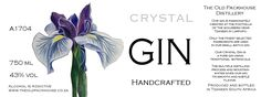 Crystal gin label design Karin Dando The Old Packhouse Distillery Handcrafted Gin