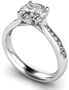Engagement Rings from Dublin jewellers Ireland set in platinum with round cut diamond in the centre