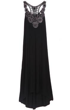 Black Sleeveless Rhinestone Hollow High Low Dress - Sheinside.com