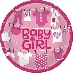 Cute as a Button Baby Girl Dinner Plates 8ct #babyshower #itsagirl