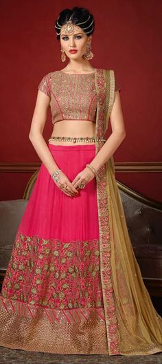 720855: Pink and Majenta  color family Bridal Lehenga .