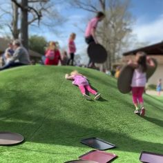 Ma'am, I think your child is asleep and sliding down the hill – funny kids
