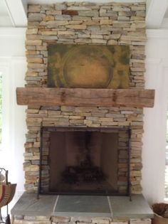 Barn Wood Beam for Mantle    stacked rock