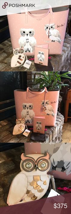 """KATE SPADE's""""Flight of Fancy"""" OWLS This is from KAYE SPADE's Collection """" Flight of Fancy"""" so featuring the 🦉 🦉 OWLS!! They are so amazingly cute. This 3 piece set come first Winthrop a LARGE TOTE with two Owls on it and one day """" who me"""". This tote is all leather and has 2 pockets on the inside and tons of Room!! The second item is the 🦉 OWL COIN PURSE with Crystal eyes- that hint at knowledge . The third thing is what KS calls a Passport Holder , but works Perfectly as a Wallet. Slots…"""