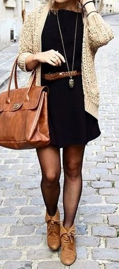 fall outfit ideas / cable knit sweater + black dress