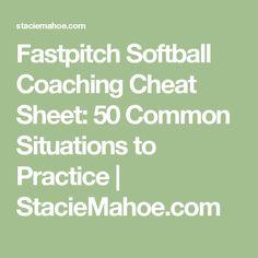 Fastpitch Softball Coaching Cheat Sheet: 50 Common Situations to Practice Elite Softball, Softball Drills, Softball Coach, Fastpitch Softball, Softball Stuff, Inspirational Softball Quotes, Softball Pictures, Sports Mom, Cheat Sheets