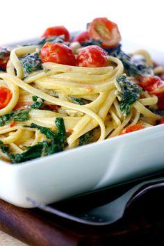 Linguine with Greens, Tomatoes, Basil & Fresh Cream