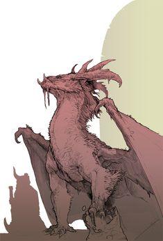 Smaug Sketch by on DeviantArt Fantasy Monster, Monster Art, Creature Concept Art, Creature Design, Mythical Creatures Art, Fantasy Creatures, Fantasy Dragon, Fantasy Art, Dragon Anatomy