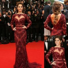 Cheryl Cole Zuhair Murad Dress Cannes 2014 Red Carpet Sexy Burgundy Lace Long Sleeve Celebrity Dresses Evening Dress-in Evening Dresses from...