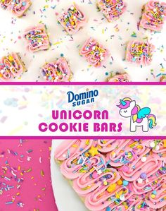 Unicorn Cookie Bars   Domino® Sugar's Confectionista Project   These easy to make and fun to eat cookie bar treats are packed with fanciful sprinkles and topped with dreamy, creamy frosting. Perfect for Bake Sales, birthdays, or just because.