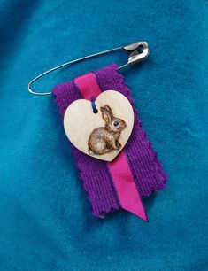 Items similar to Bunny Rabbit Brooch - painted pyrography heart and recycled fabric scraps - Valentines gift on Etsy Recycled Fabric, Pyrography, Bunny Rabbit, Fabric Scraps, Valentine Gifts, Brooch, Drop Earrings, Heart, Artwork