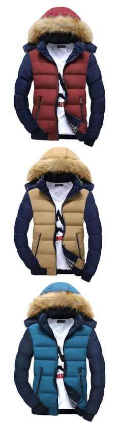 Thicken Warm Down Contrast Color Men's Cotton Coat with Hat