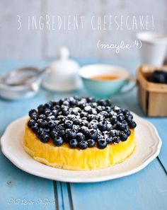 No Sweat Easy 3 Ingredient Blueberry Cheesecake!
