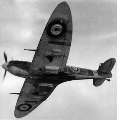 An RAF Supermarine Spitfire from below.
