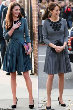whatkatewore: Duchess of Cambridge in Orla Kiely-March 2012, October 2015 Princesa Real, Duchess Kate, Duchess Of Cambridge, Gray Dress, Dress Up, Herzogin Von Cambridge, Prince William And Catherine, Kate Middleton Style, Royal Fashion