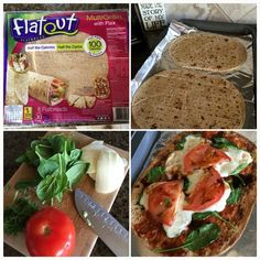 Amazing flat out pizza recipe also 21 day fix approved! Why not enjoy pizza the healthy way with mozzarella, spinach, tomatoes, balsamic drizzle...it's so good! Check out my Fitness Fanatic page on Facebook for healthy recipes and in home workout ide