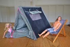 Homemade Barbie tent and sleeping bags!