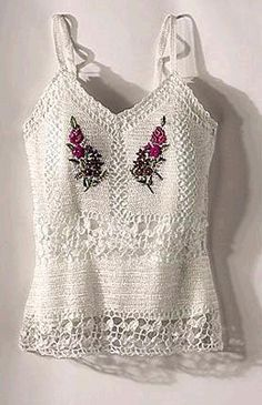 embroidered crochet - click on the back arrow and see a bunch more clothing and the diagram for this top