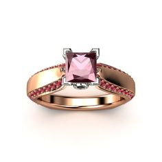 Rhodolite Garnet  14K Rose & White Gold Ring with Black Diamond and Ruby - lay_down
