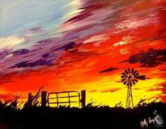 How to Paint Country Sunset - Canvas Painting Farm Paintings, Country Paintings, Sunset Paintings, Wine And Canvas, Arte Country, Sunset Canvas, Pictures To Paint, Landscape Art, Diy Painting